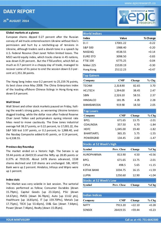 DAILY REPORT 25 th AUGUST 2014 YOUR MINTVISORY Call us at +91-731-6642300 Global markets at a glance European shares dippe...