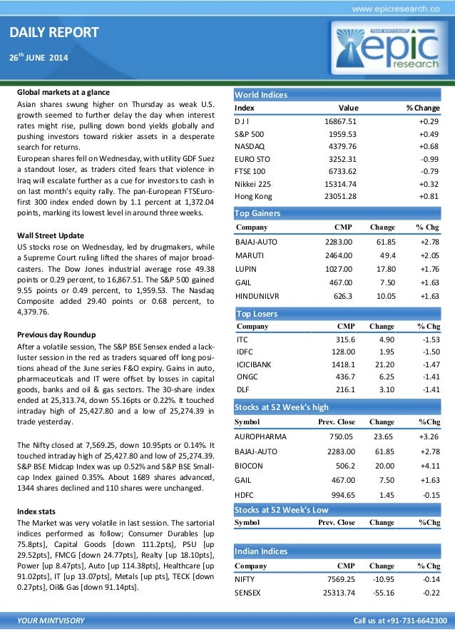 DAILY REPORT 26th JUNE 2014 YOUR MINTVISORY Call us at +91-731-6642300 Global markets at a glance Asian shares swung highe...