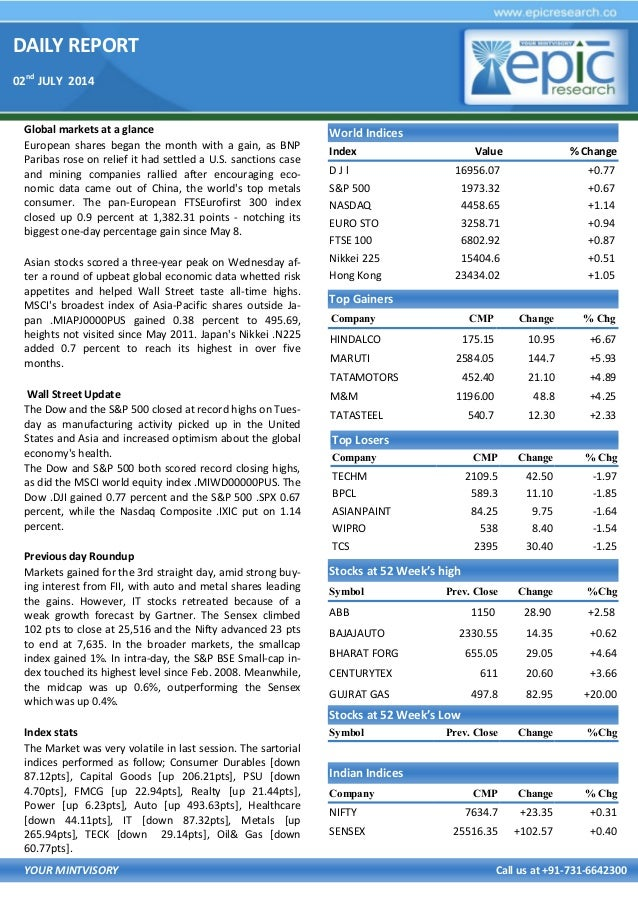 DAILY REPORT 02nd JULY 2014 YOUR MINTVISORY Call us at +91-731-6642300 Global markets at a glance European shares began th...