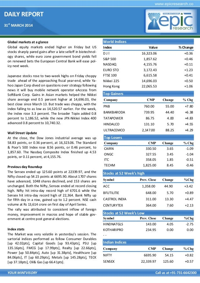 DAILY REPORT 31st MARCH 2014 YOUR MINTVISORY Call us at +91-731-6642300 Global markets at a glance Global equity markets e...