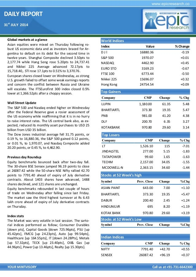 DAILY REPORT 31st JULY 2014 YOUR MINTVISORY Call us at +91-731-6642300 Global markets at a glance Asian equities were mixe...