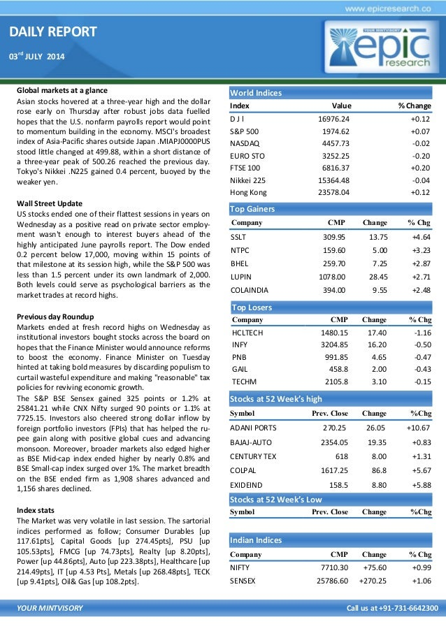 DAILY REPORT 03rd JULY 2014 YOUR MINTVISORY Call us at +91-731-6642300 Global markets at a glance Asian stocks hovered at ...