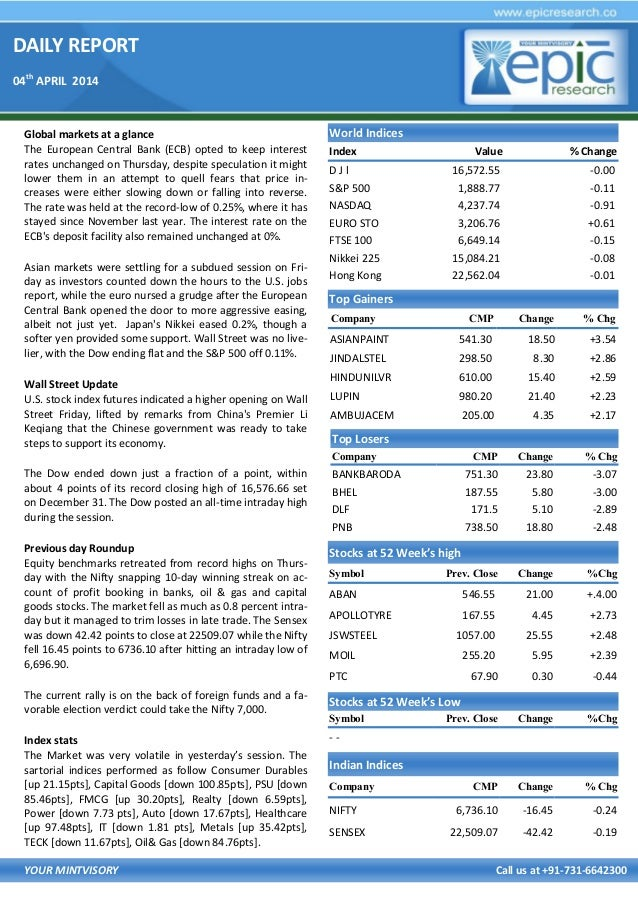 DAILY REPORT 04th APRIL 2014 YOUR MINTVISORY Call us at +91-731-6642300 Global markets at a glance The European Central Ba...