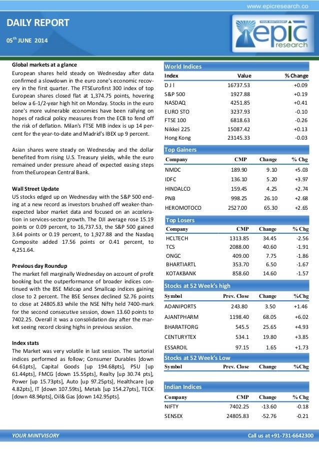 DAILY REPORT 05th JUNE 2014 YOUR MINTVISORY Call us at +91-731-6642300 Global markets at a glance European shares held ste...
