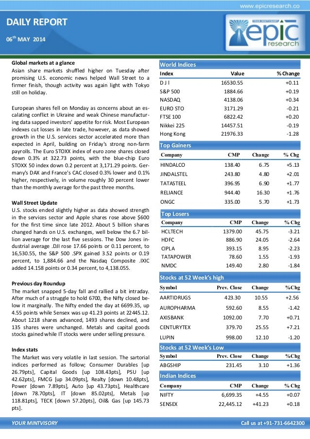 DAILY REPORT 06th MAY 2014 YOUR MINTVISORY Call us at +91-731-6642300 Global markets at a glance Asian share markets shuff...
