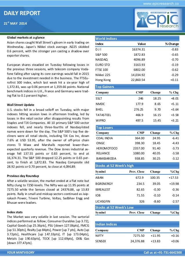 DAILY REPORT 21st MAY 2014 YOUR MINTVISORY Call us at +91-731-6642300 Global markets at a glance Asian shares caught Wall ...