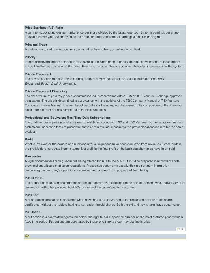 stock market terms rh slideshare net tsx-v corporate finance manual tsx venture exchange corporate finance manual policy 4.4