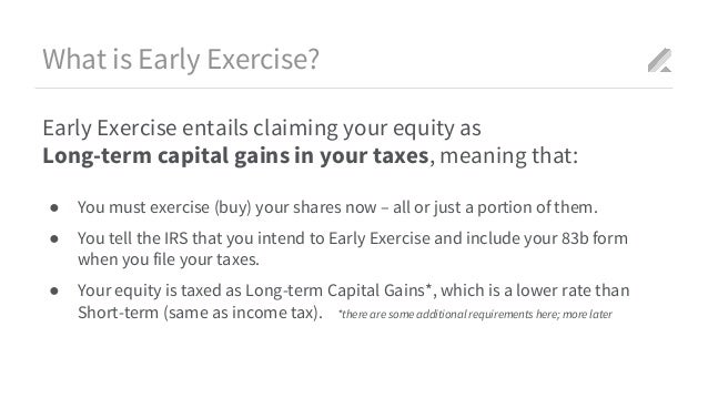 Stock options early exercise