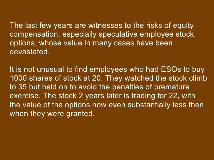 Employee stock options and risks associated with them