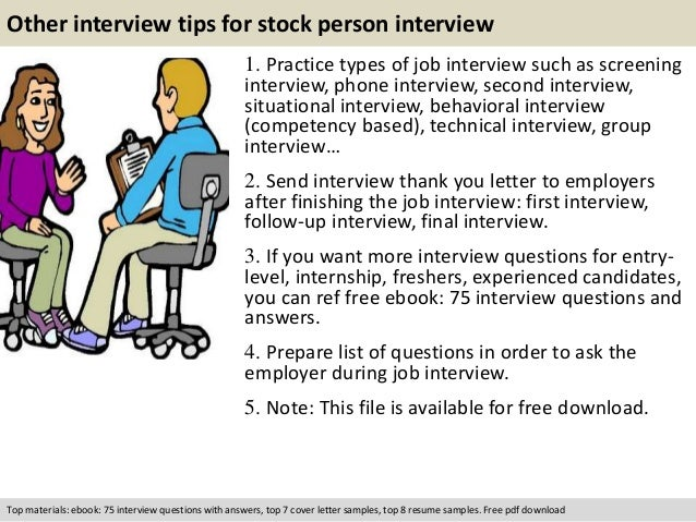 free pdf download 11 other interview tips for stock person