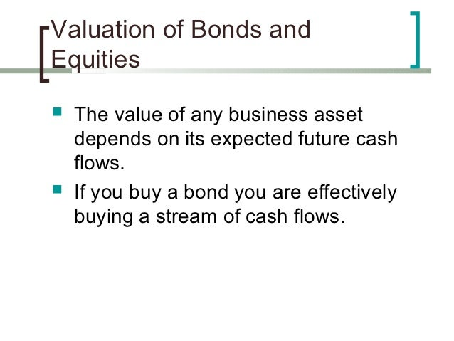 Valuation of Bonds andEquities   The value of any business asset    depends on its expected future cash    flows.   If y...