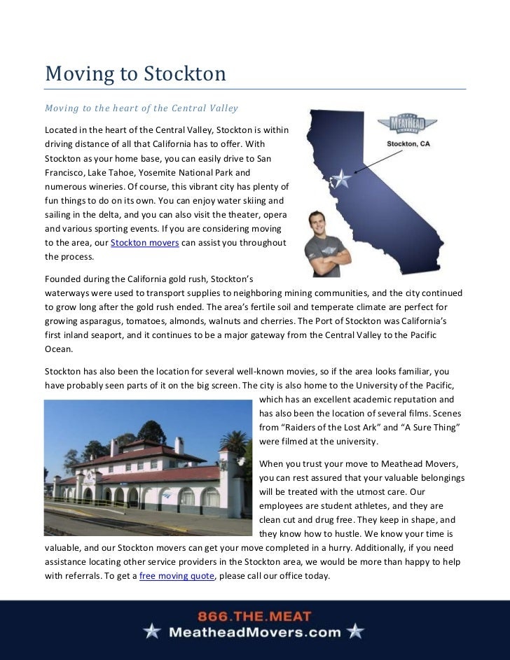 Moving to StocktonMoving to the heart of the Central ValleyLocated in the heart of the Central Valley, Stockton is withind...
