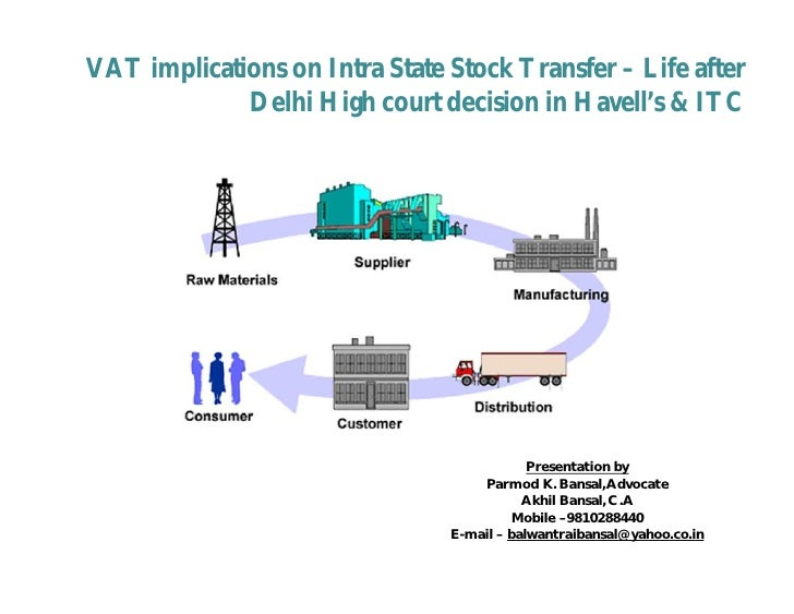 VAT implications on Intra State Stock Transfer – Life after             Delhi High court decision in Havell's & ITC       ...