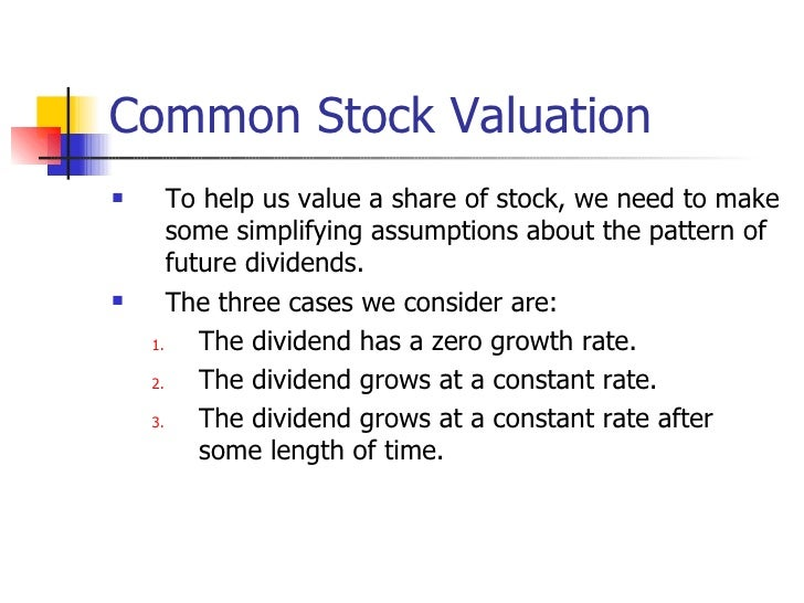 stock valuation formulas