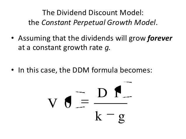 dividend discount model Learn about the dividend discount model and how dividend discount model help companies to calculate the growth rate of the business after a specific time dividend discount model formula.