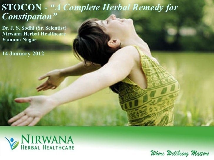 """STOCON -  """"A Complete Herbal Remedy for Constipation"""" Dr. J. S. Sodhi (Sr. Scientist) Nirwana Herbal Healthcare Yamuna Nag..."""