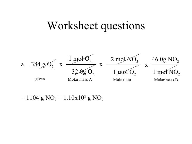 Worksheet mixed problems mole mole and mole mass - Term ...