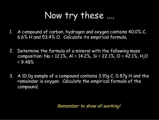 Stoichiometry oxygen and empirical formula - Homework Sample
