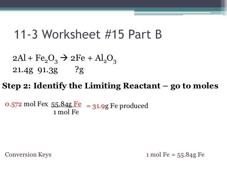 Limiting Reactant Problems Worksheet - wiildcreative