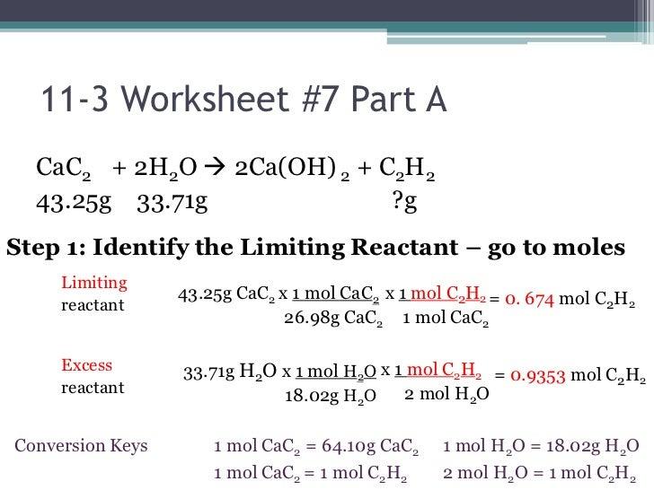Limiting Reactant Worksheet 001 - Limiting Reactant Worksheet