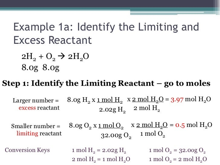 determining the limiting reactant and the The reactant you run out of is called the limiting reagent the other reactant or reactants are considered to be in excess a crucial skill in evaluating the conditions of a chemical process is to determine which reactant is the limiting reagent and which is in excess.