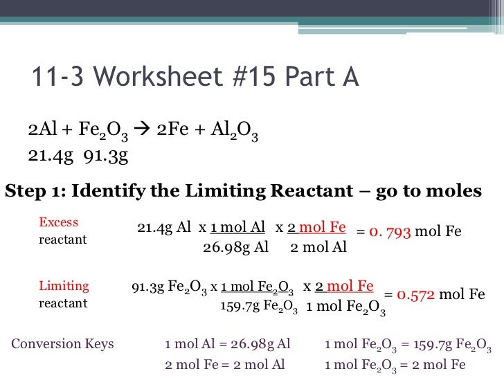 Limiting Reactant Problems Worksheet - Talktoak