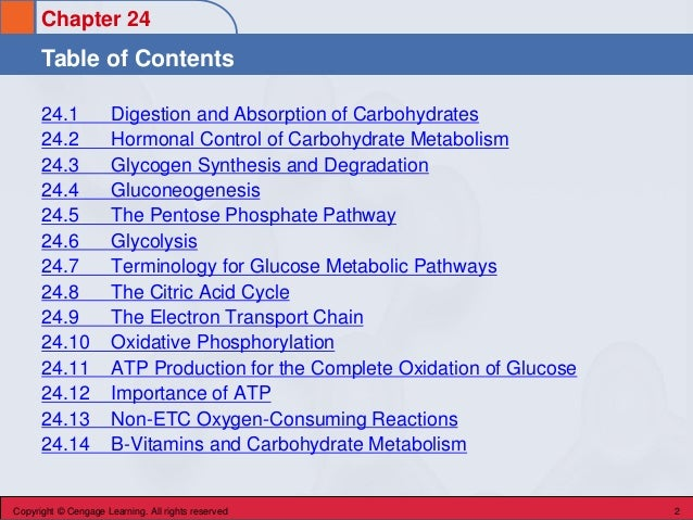 Chapter 24 Table of Contents Copyright © Cengage Learning. All rights reserved 2 24.1 Digestion and Absorption of Carbohyd...