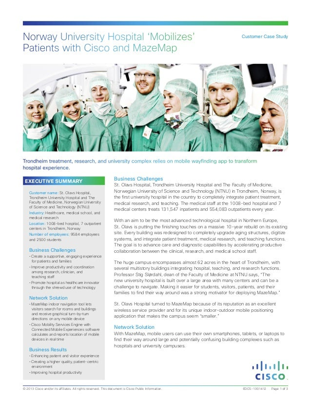 Norway University Hospital 'Mobilizes' Patients with Cisco and MazeMap  Customer Case Study  Trondheim treatment, research...