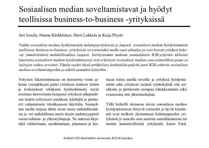 Sosiaalisen median soveltamistavat ja hyödytteollisissa business-to-business -yrityksissäJari Jussila, Hannu Kärkkäinen, H...