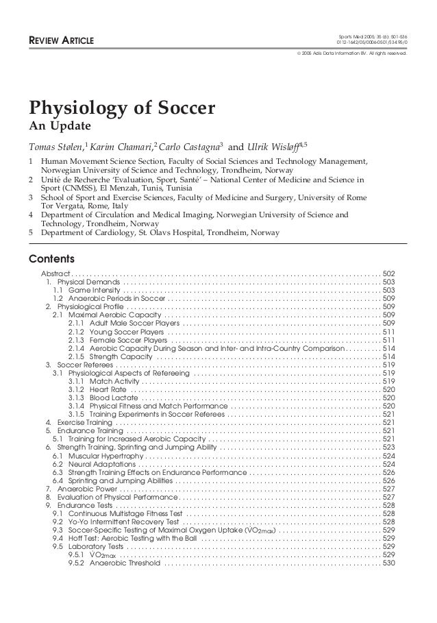 Physiology of Soccer - Fisiologia do Futebol