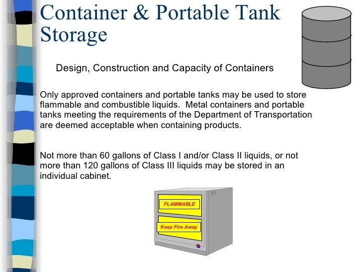 storage of flammable liquids in containers
