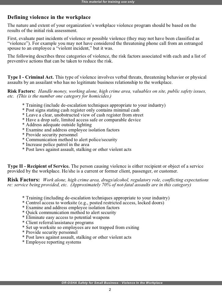 workplace violence and harassment risk assessment template - violence in the workplace training
