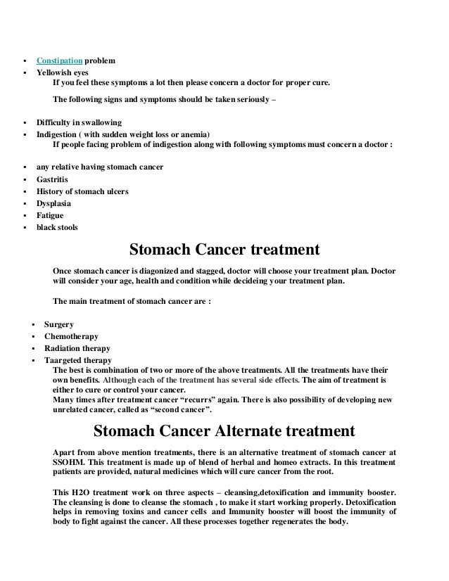Stomach Cancer Possible Causes And Symptoms With