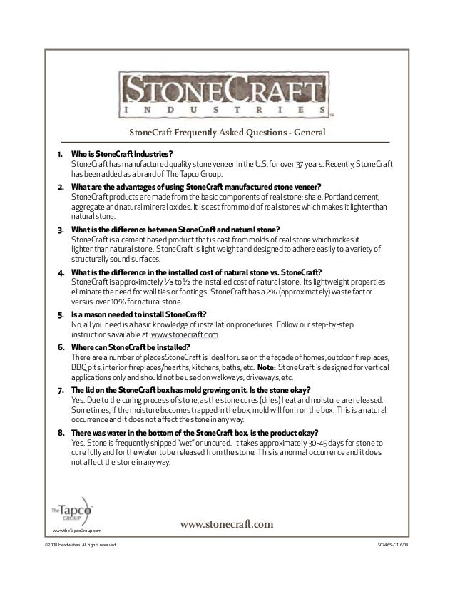 ©2008 Headwaters. All rights reserved. SC7465–CT 6/08 www.stonecraft.com Who is StoneCraft Industries?1. StoneCrafthasmanu...