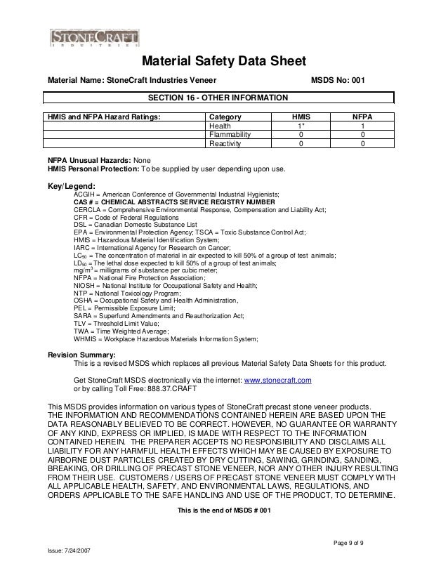 Stone craft Material Safety Data Sheet – Por and Para Worksheet