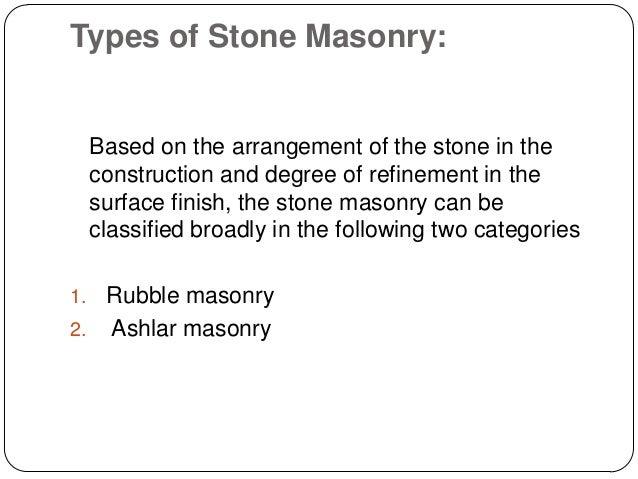 Stone Masonry BUILDING CONSTRUCTION
