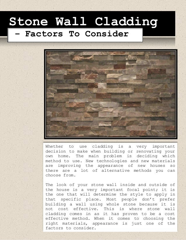 Stone Wall Cladding – Factors To Consider
