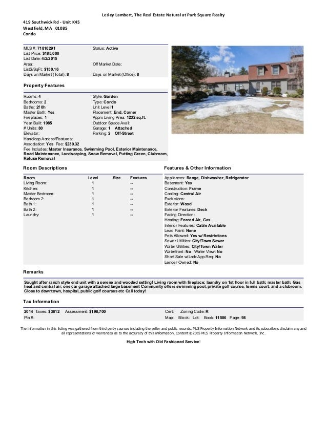 Stoney Hill Condominiums, Westfield, MA Market Report April 2015