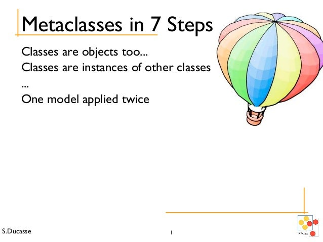 S.Ducasse 1 Metaclasses in 7 Steps Classes are objects too... Classes are instances of other classes ... One model applied...