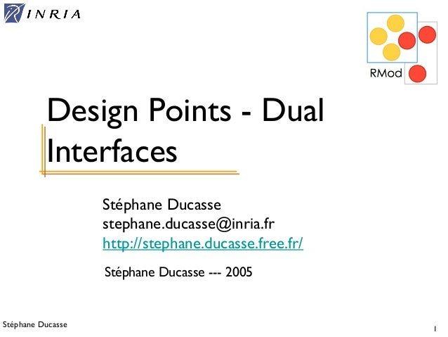 Stéphane Ducasse 1 Stéphane Ducasse stephane.ducasse@inria.fr http://stephane.ducasse.free.fr/ Design Points - Dual Interf...