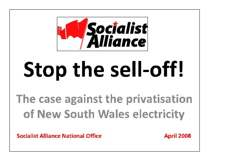 Stop The Sell Off! The Case Against Electricity Privatisation In Nsw (Lowresolution)