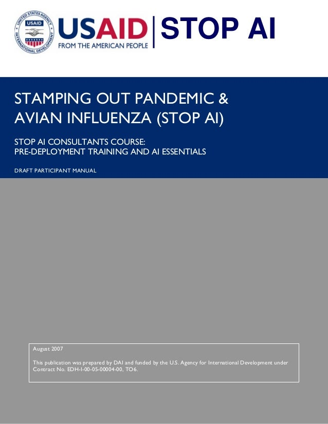 i  STAMPING OUT PANDEMIC &  AVIAN INFLUENZA (STOP AI)  STOP AI CONSULTANTS COURSE:  PRE-DEPLOYMENT TRAINING AND AI ESSENTI...