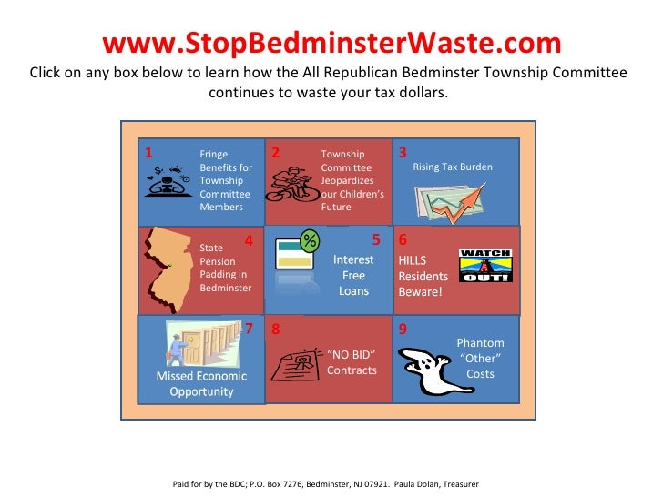 www.StopBedminsterWaste.com Click on any box below to learn how the All Republican Bedminster Township Committee continues...
