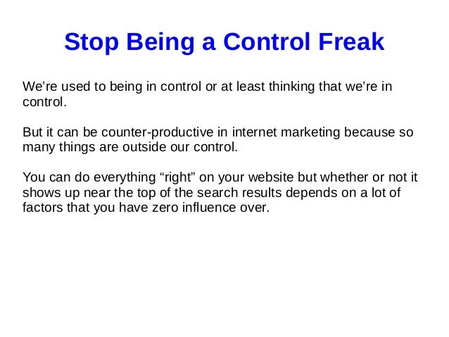 How to get rid of a control freak