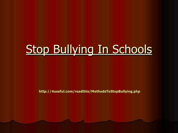Stop bullying in schools