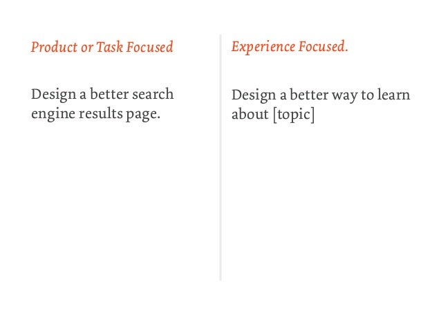 Product or Task Focused   Experience Focused.Design a better search    Design a better way to learnengine results page.   ...