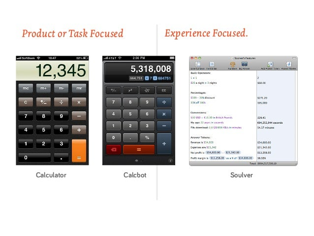 Product or Task Focused             Experience Focused.   Calculator             Calcbot                 Soulver