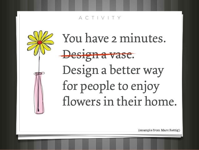 A C T I V I T YYou have 2 minutes.Design a vase.Design a better wayfor people to enjoyflowers in their home.              ...