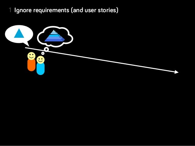 1 Ignore requirements (and user stories)2 Keep questioning for clarity (why? why? why?)             desired outcomes3 Defin...