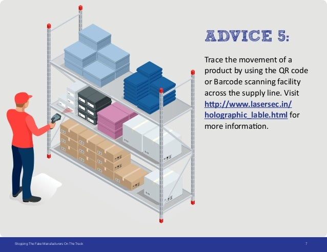 7Stopping The Fake Manufacturers On The Track ADVICE 5: Trace the movement of a product by using the QR code or Barcode sc...